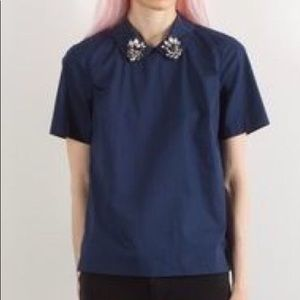 Madewell jeweled collar cotton button back shirt M